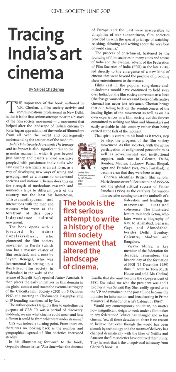Review of My Book by Saibal Chatterjee, Eminent Film Writer in the Journal Civil Society.