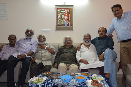 The greater evening at my flat in Trivandru. Adoor, TV Chandran, Zacharia KR Mohanan and Sunny Joesph.