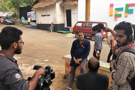 Media freaked out on the release function. A TV interview at the IFFK, Trivandrum.