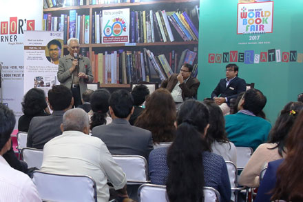 Dr Y C Halan of DFS  speaking at the Author's corner at World Book Fair, Delhi, 2017.
